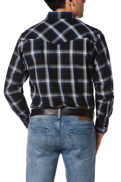 Men's Long Sleeve Plaid Western Shirt in Black Plaid | Ely Cattleman