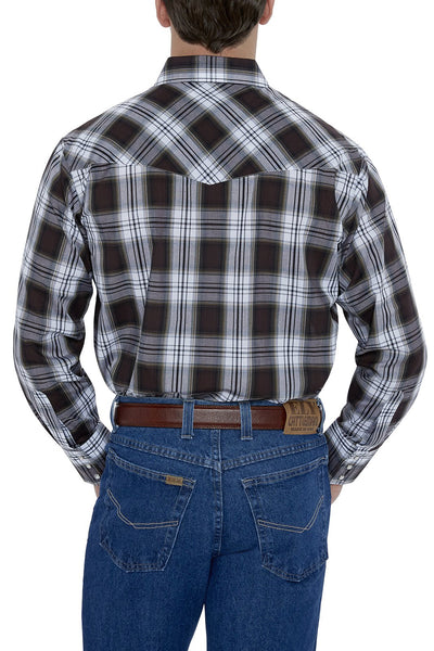 Men's Long Sleeve Plaid Western Shirt in Brown Plaid | Ely Cattleman