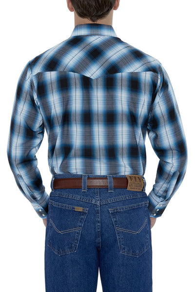 Men's Long Sleeve Plaid Western Shirt in Turq Plaid | Ely Cattleman