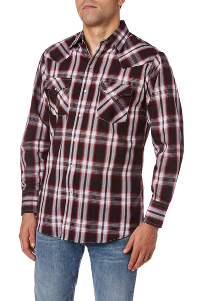 Men's Long Sleeve Plaid Western Shirt in Wine Plaid | Ely Cattleman