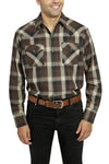 Men's Long Sleeve Premium Cotton Plaid Shirt in Brown | Ely Cattleman