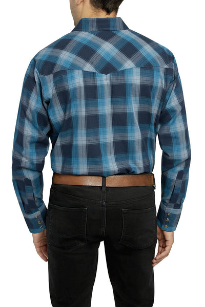 Men's Long Sleeve Premium Cotton Plaid Shirt in Teal | Ely Cattleman