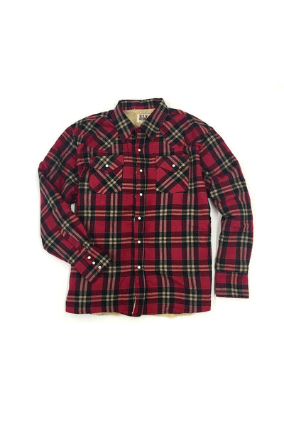 Men's Long Sleeve Sherpa-Lined Flannel Shirt in Crimson Plaid | Ely Cattleman