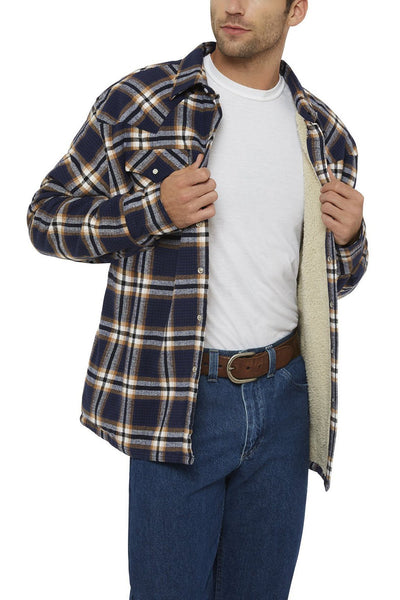 Men's Long Sleeve Sherpa-Lined Flannel Shirt in Navy Plaid | Ely Cattleman