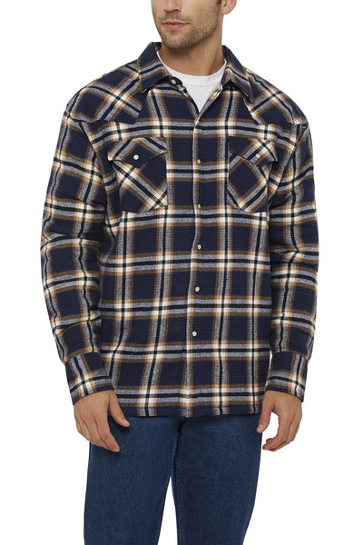Ely Cattleman Long Sleeve Sherpa-Lined Flannel Shirt in Navy Plaid