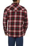 Ely Cattleman Long Sleeve Sherpa-Lined Flannel Shirt in Red Plaid