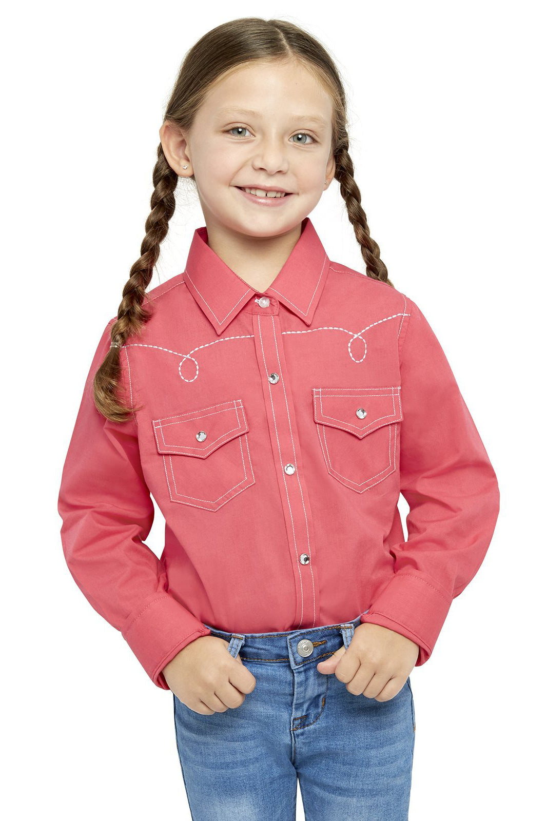 Girl's Long Sleeve Shirt With Embroidery | Ely Cattleman