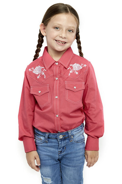 Girl's Long Sleeve Shirt With Rose Embroidery | Ely Cattleman