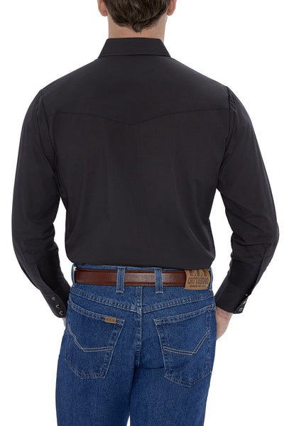 Men's Long Sleeve Solid Western Shirt in Black | Ely Cattleman