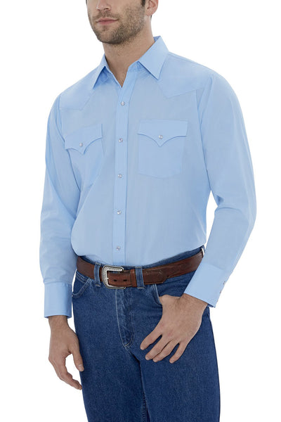 Men's Long Sleeve Solid Western Shirt in Light Blue | Ely Cattleman