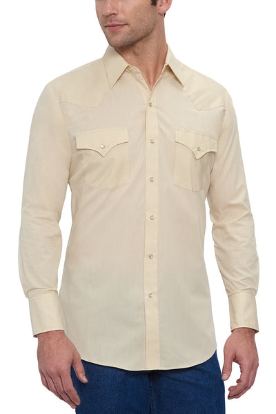 Men's Long Sleeve Solid Western Shirt in Ecru | Ely Cattleman