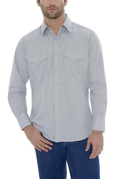 Men's Long Sleeve Solid Western Shirt in Light Gray | Ely Cattleman