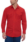 Men's Long Sleeve Solid Western Shirt in Red | Ely Cattleman