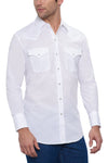 Men's Long Sleeve Solid Western Shirt in White | Ely Cattleman