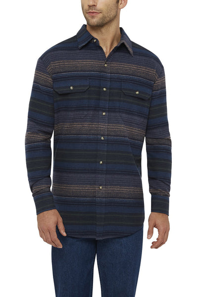 Ely Cattleman Long Sleeve Striped Flannel Shirt in Navy Stripe