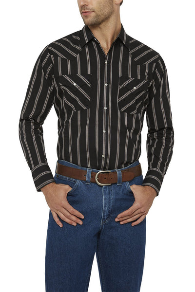 Men's Long Sleeve Striped Shirt in Black | Ely Cattleman