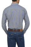 Men's Long Sleeve Striped Shirt in Blue | Ely Cattleman
