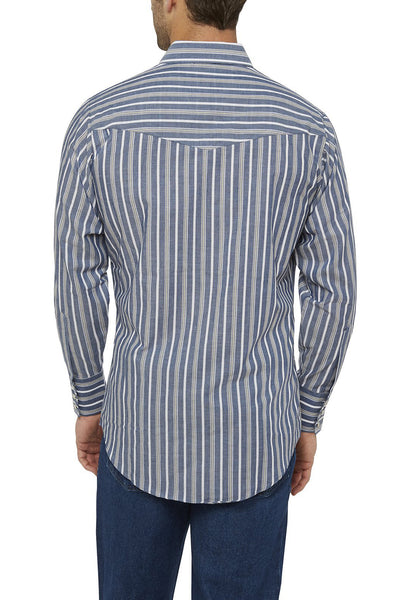 Ely Cattleman Long Sleeve Striped Shirt in Blue