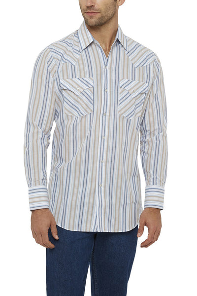 Men's Long Sleeve Striped Shirt in Khaki | Ely Cattleman