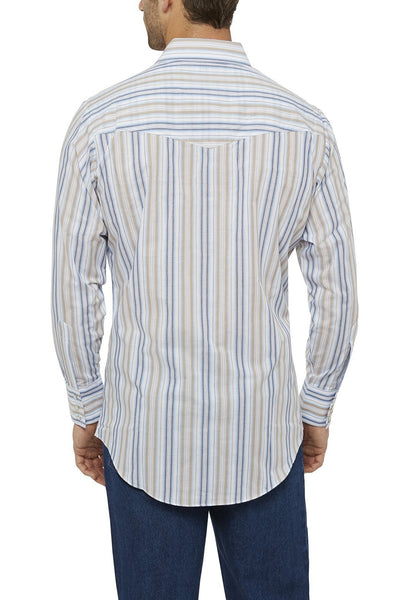 Ely Cattleman Long Sleeve Striped Shirt in Khaki