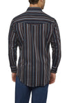 Men's Long Sleeve Striped Shirt in Navy | Ely Cattleman