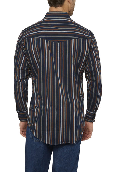 Ely Cattleman Long Sleeve Striped Shirt in Navy