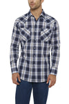 Ely Cattleman Long Sleeve Textured Plaid Shirt in Blue Plaid