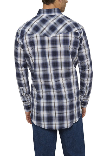 Men's Long Sleeve Textured Plaid Shirt in Blue Plaid | Ely Cattleman