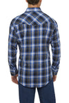 Ely Cattleman Long Sleeve Textured Plaid Shirt in Cobalt Plaid