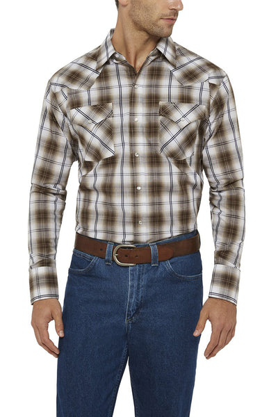 Ely Cattleman Long Sleeve Textured Plaid Shirt in Khaki Plaid