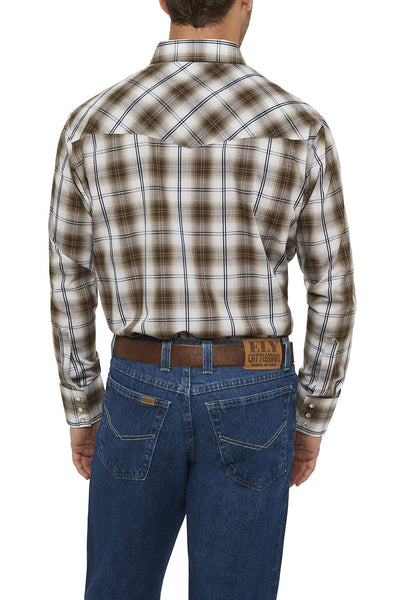 Men's Long Sleeve Textured Plaid Shirt in Khaki Plaid | Ely Cattleman