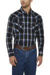 Men's Long Sleeve Textured Plaid Shirt in Navy Plaid | Ely Cattleman