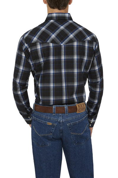 Ely Cattleman Long Sleeve Textured Plaid Shirt in Navy Plaid