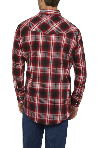 Ely Cattleman Long Sleeve Textured Plaid Shirt in Red Plaid