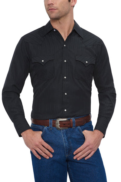 Men's Long Sleeve Tone on Tone Western Shirt in Black | Ely Cattleman