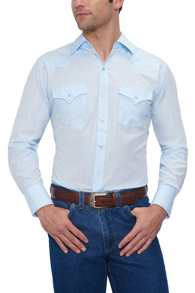 Men's Long Sleeve Tone on Tone Western Shirt in Blue | Ely Cattleman