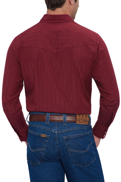 Men's Long Sleeve Tone on Tone Western Shirt in Burgundy | Ely Cattleman