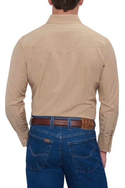 Men's Long Sleeve Tone on Tone Western Shirt in Khaki | Ely Cattleman