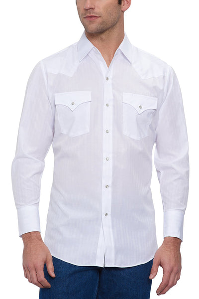 Men's Long Sleeve Tone on Tone Western Shirt in White | Ely Cattleman