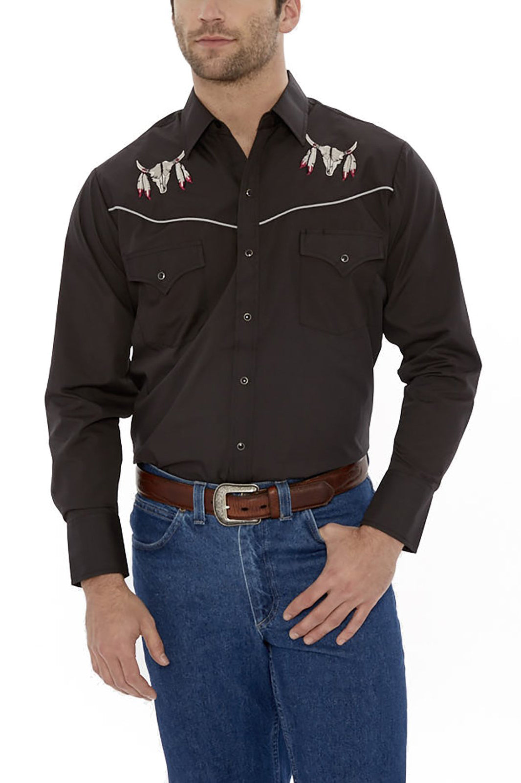 Men's Long Sleeve Western Shirt with Cow Skull Embroidery in Black | Ely Cattleman