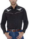 Men's Long Sleeve Western Shirt with Eagle Embroidery in Black | Ely Cattleman