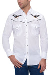 Men's Long Sleeve Western Shirt with Eagle Embroidery in White | Ely Cattleman