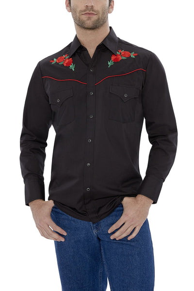 Long Sleeve Western Shirt with Rose Embroidery in Black | Ely Cattleman