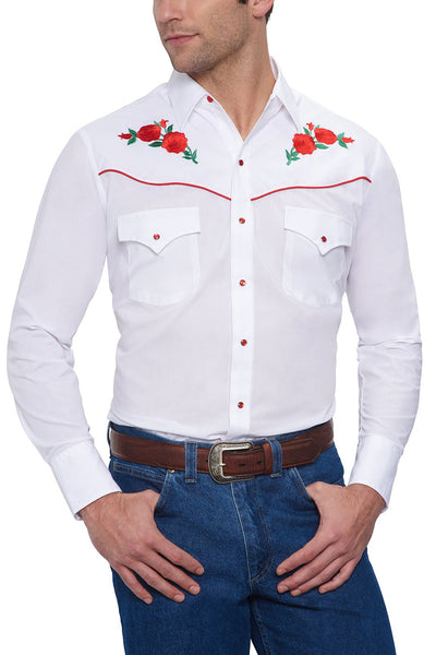 Long Sleeve Western Shirt with Red Rose Embroidery in White | Ely Cattleman