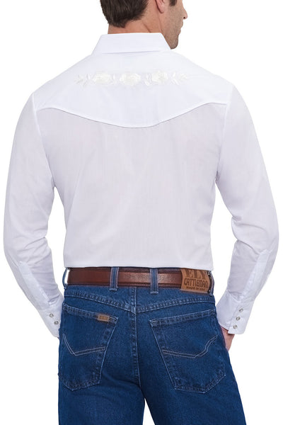 Long Sleeve Western Shirt with White Rose Embroidery in White | Ely Cattleman