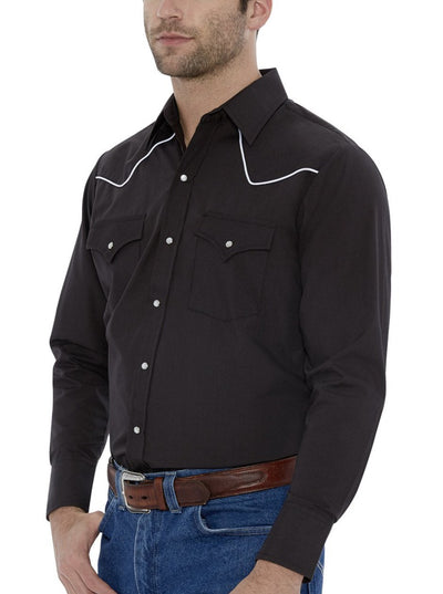 Men's Long Sleeve Western Shirt with Contrast Piping in Black | Ely Cattleman