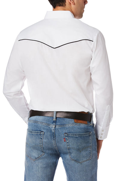 Men's Long Sleeve Western Shirt with Contrast Piping in White | Ely Cattleman