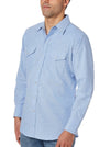 Men's Long Sleeve Wrinkle Resistant Oxford in Blue | Ely Cattleman