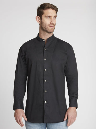 Men's Long Sleeve Banded Collar Shirt in Black