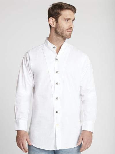 Men's Long Sleeve Banded Collar Shirt in White